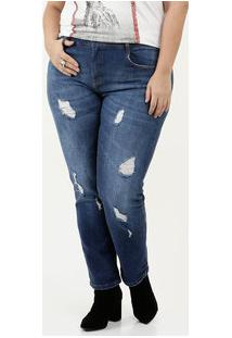 Calça Feminina Jeans Puídos Plus Size Cigarrete Marisa