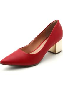 Scarpin Via Uno Salto Metalizado Vermelho