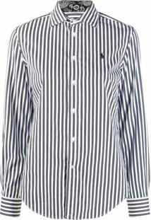 Polo Ralph Lauren Camisa Com Listras E Logo Bordado - Preto