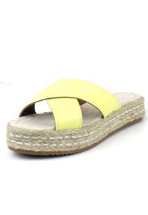 Sandalia Flatform Em X Emporio Naka Corda Amarela