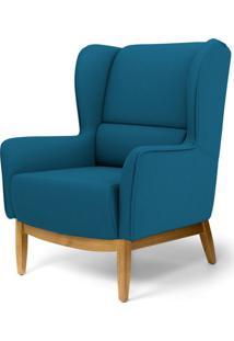 Poltrona Decorativa Para Sala De Estar Milena D02 Base De Madeira Veludo Liso Azul Cobalto B-170 - Lyam Decor