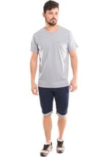 Camiseta Básica Osmoze Gola Redonda Com Logomarca Masculina - Masculino-Cinza