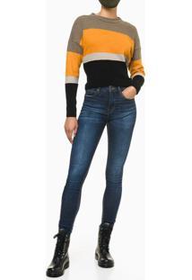 Calça Jeans Feminina Skinny Premium Cintura Alta Azul Médio Calvin Klein - 44