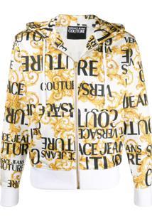 Versace Jeans Couture Moletom Com Capuz E Cordão De Ajuste - Branco