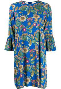 La Doublej Vestido Com Estampa - Azul
