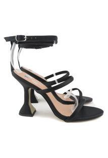 Sandália Salto Taça Com Tiras Finas E Fivela Preto Napa