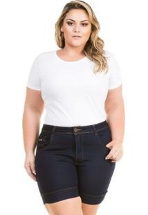 Shorts Confidencial Extra Plus Size Jeans Cintura Alta Feminino - Feminino-Marinho
