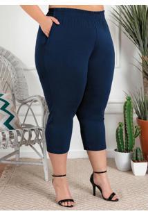 Calça Plus Size Marinho Com Bolsos