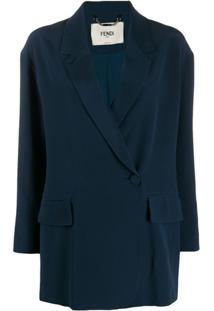 Fendi Blazer De Seda Com Botões Deslocados - Azul