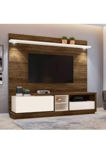 """Rack Com Painel Home Para Tv Até 70"""" Vogue Siena Móveis Canela Rústico/Branco Off"""
