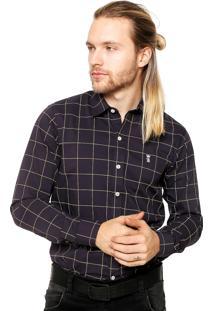 Camisa Sergio K Quadriculada Cinza/Amarela