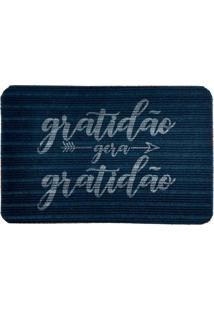 Capacho Carpet Gratidão Gera Gratidão Azul Único Love Decor