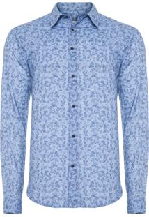 Camisa Masculina Rose Bush - Azul