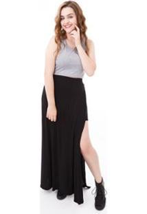 afddd7d57 ... Saia Moda Vício Longa Com Transpasse Feminino - Feminino-Preto