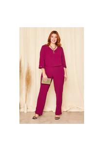 Calça Reta Almaria Plus Size Planchet Cós Com Elástico Rosa