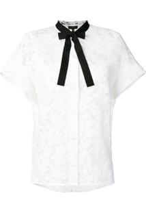 Escada Camisa Bordada Com Laços Na Gola - Branco