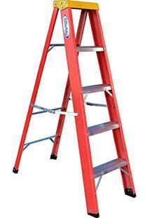 Escada Tesoura Residencial Em Fibra De Vidro De 1,80M Com 5 Degraus + 1 Patamar-Bertolo-Rf-6
