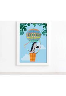 Quadro Infantil Zebra E Balão Moldura Branca 33X43Cm