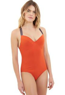 Body Rosa Chá Audrey Elásticos 1 Beachwear Laranja Feminino (Pureed Pumpkin, Pp)