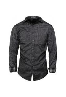 Camisa Masculina Detalhes Xadrez S7057 - Cinza Escuro