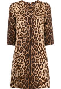 Dolce & Gabbana Vestido Reto Com Animal Print - Marrom