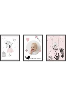 Quadro 40X90Cm Infantil Lembranã§A Beb㪠Menina Moldura Preta Com Vidro Decorativo - Multicolorido - Dafiti