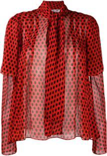 Dvf Diane Von Furstenberg Blusa De Poá Em Seda - Vermelho