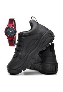 Tênis Sapatênis Plataforma Fashion Com Relógio Chili Feminino Dubuy 731El Preto