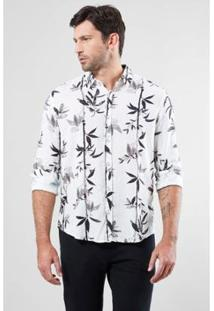 Camisa Regular Reserva Linho Bamboo Masculina - Masculino-Branco