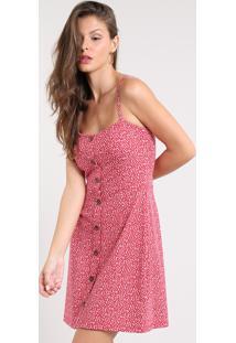 e73140e10 CEA. Vestido Feminino Curto Estampado Floral Com Botões Alça Fina Vermelho