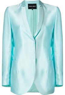 Giorgio Armani Blazer Com Abotoamento Simples - Azul