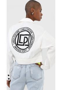 Jaqueta Cropped Jeans Lanã§A Perfume Aplicaã§Ãµes Off-White - Off White - Feminino - Algodã£O - Dafiti
