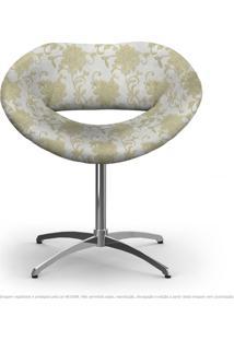Cadeira Beijo Bege Floral Poltrona Decorativa Com Base Giratória