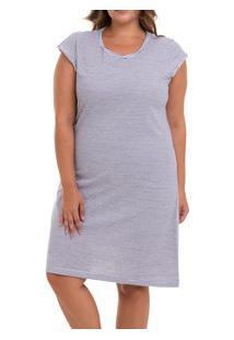 Camisola Curta Listrada Doce Luar (5028N) Plus Size - 100% Algodão