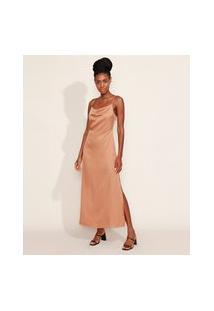 Vestido Slip Dress Feminino Mindset Longo Acetinado Texturizado Alça Fina Gola Degagê Caramelo