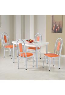 Conjunto De Mesa Orquídea Branco E Laranja 4 Cadeiras - Criativa
