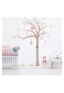 Adesivo De Parede Infantil Árvore Coruja Baby 1,85M