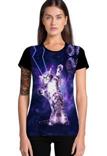 Camiseta Ramavi Gato Psicodélica Preta