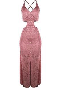 979b9166a ... Vestido Outletdri Longo Rendado Forrado Alcinha Fenda E Decote Feminino  - Feminino-Rosa Claro