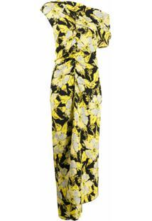 Colville Vestido Assimétrico Com Estampa Floral - Amarelo