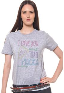 Camiseta Feminina Joss I Love You Pizza Cinza Mescla
