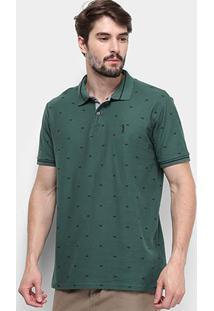 Camisa Polo Aleatory Piquet Mini Print Masculina - Masculino-Verde