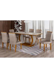 Conjunto De Mesa De Jantar Com 6 Cadeiras Maia I Suede Amassado Imbuia E Chocolate