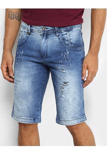 Bermuda Jeans Zune Estonada Puídos Masculina - Masculino