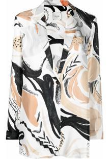 Alysi Blazer Com Estampa Swan Rhapsody De Seda - Neutro
