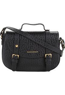 Bolsa Couro Colcci Mini Bag Floater Fivelas Feminina - Feminino-Preto