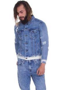Jaqueta Jeans Levis The Trucker Lavagem Média - Masculino-Azul