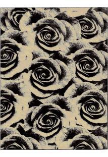 Tapete Veludo Rosas 98X150 Cm Bege