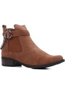 Bota Cano Curto Shoestock Corrente Salto Baixo Feminina - Feminino-Marrom