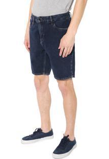 Bermuda Jeans Calvin Klein Jeans Reta Pespontos Azul-Marinho